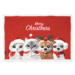 Santa cats set Fleece Blanket